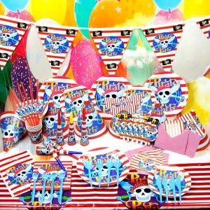 שולחן יום הולדת מעוצב, כלים חד פעמיים ליום הולדת קונספט פיראטים